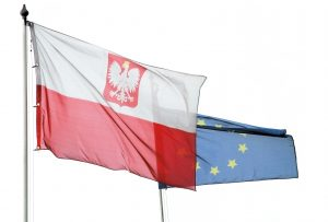 Poland in European Union flag on white background